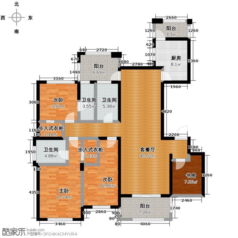 德圣博奥城155.00㎡平层家配图户型4室1厅3卫1厨