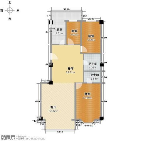领秀金川1厅2卫1厨120.00㎡户型图