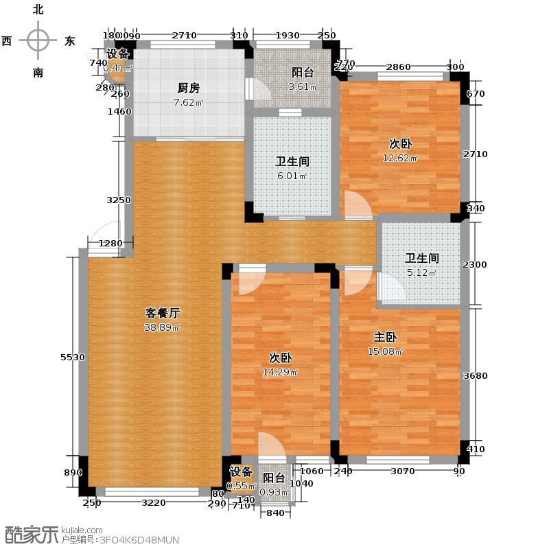 绿地国际花都119.41㎡户型3室1厅2卫1厨