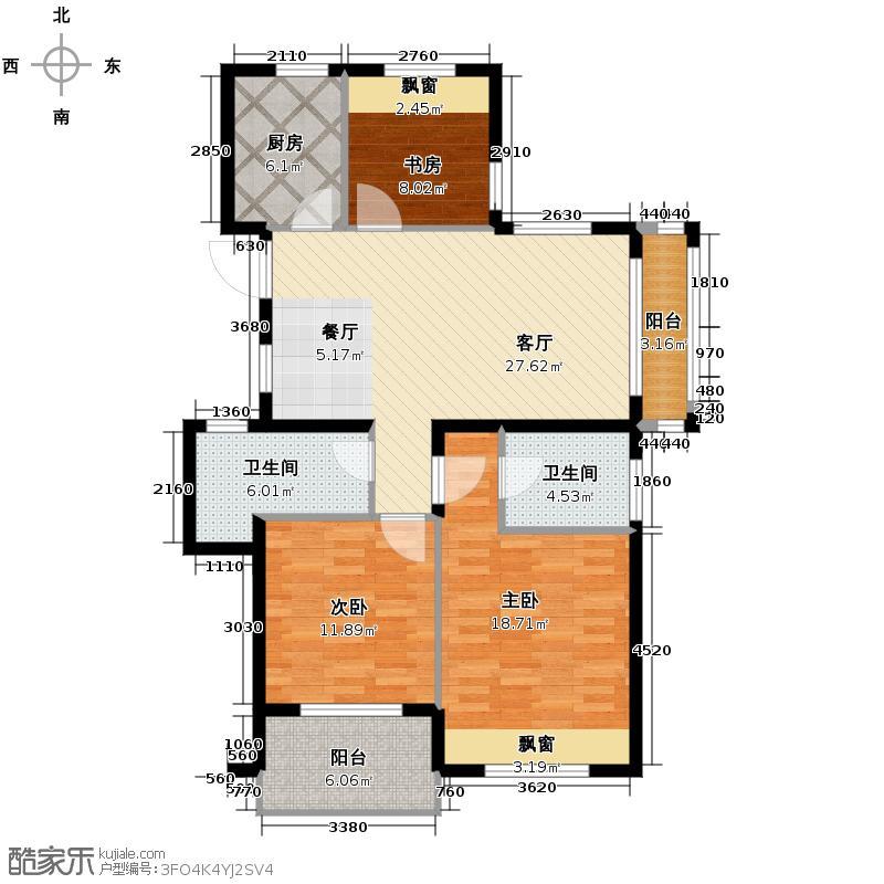 滨江金色黎明114.00㎡A-2户型3室1厅2卫1厨