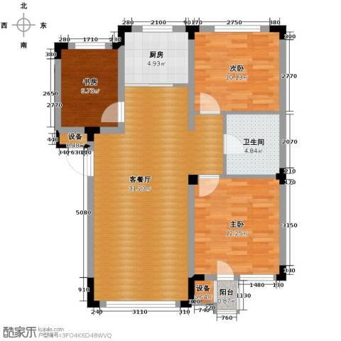 绿地国际花都3室1厅1卫1厨102.00㎡户型图