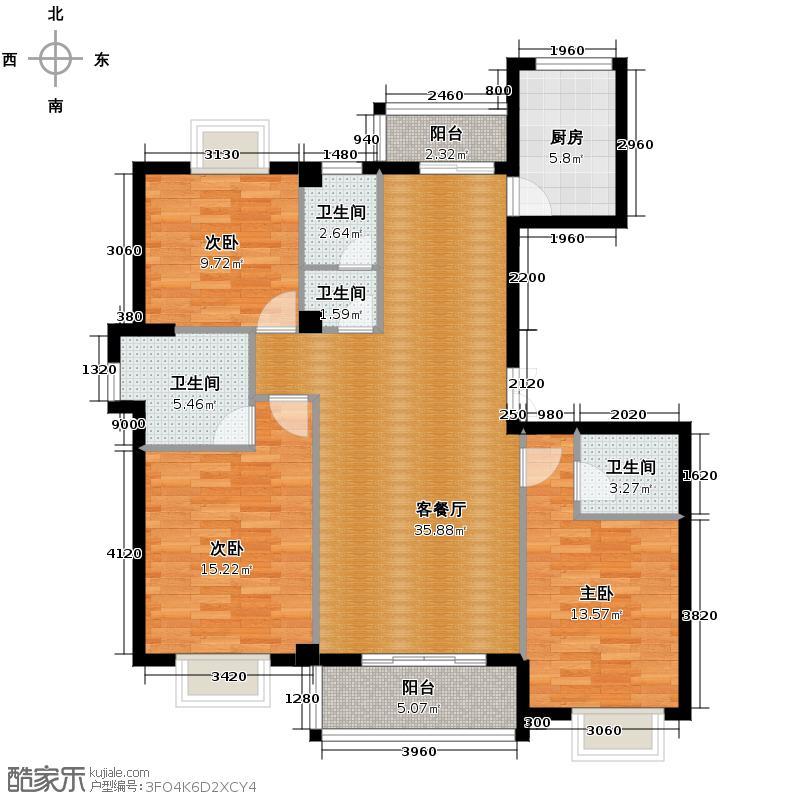 中联江滨御景113.52㎡E1型平面图户型10室