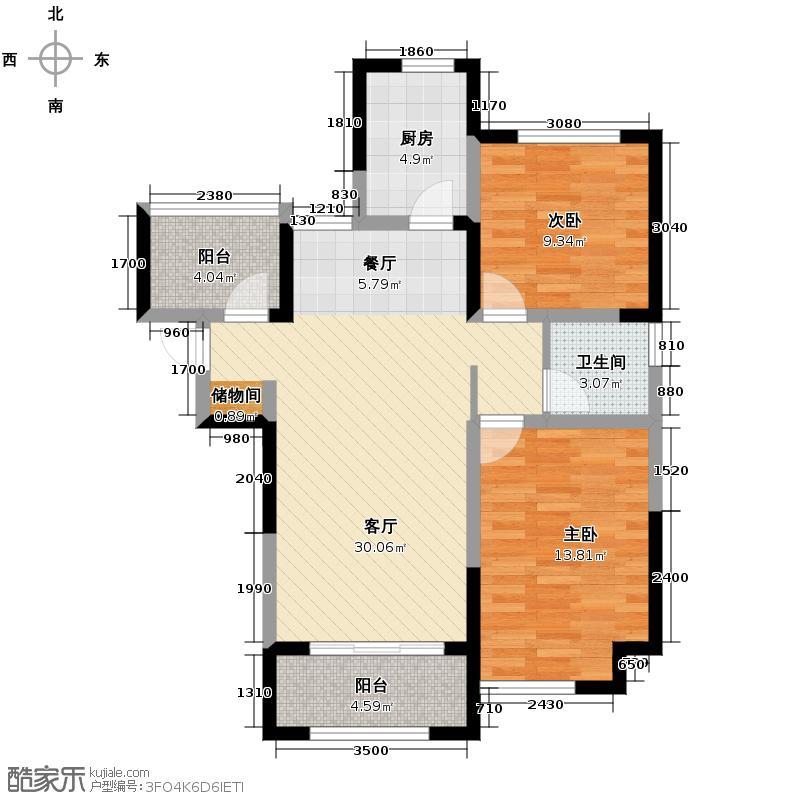 华地润园80.87㎡户型2室2厅1卫