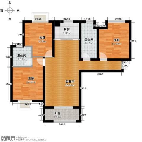 中铁滨湖名邸3室2厅2卫0厨123.00㎡户型图