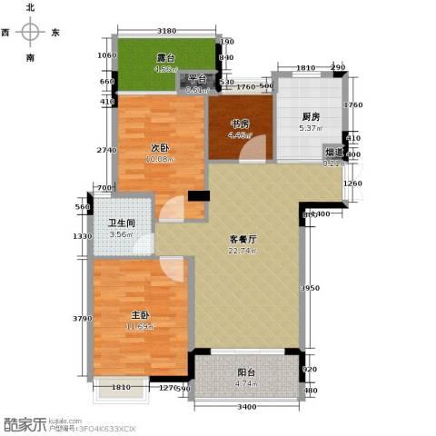 上东领地3室1厅1卫1厨96.00㎡户型图
