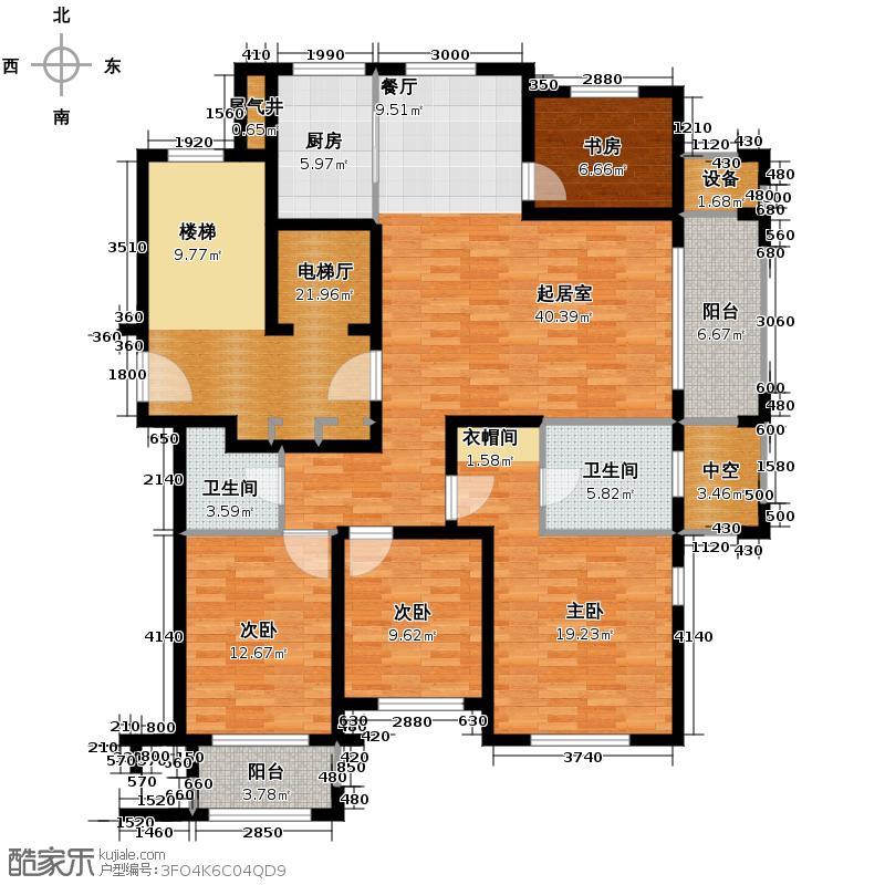 绿城翡翠湾137.03㎡6号楼K2户型4室2厅2卫