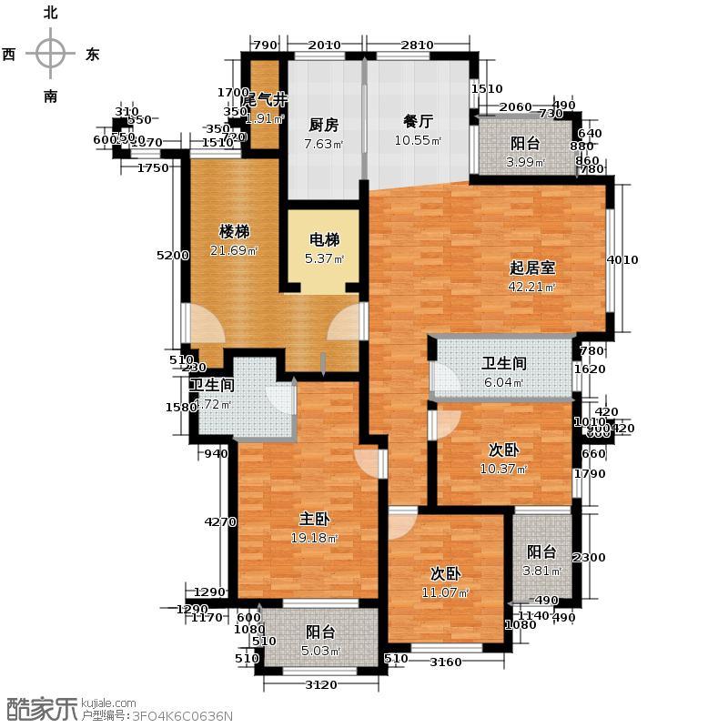 绿城翡翠湾157.13㎡7号楼P213576户型3室2厅2卫