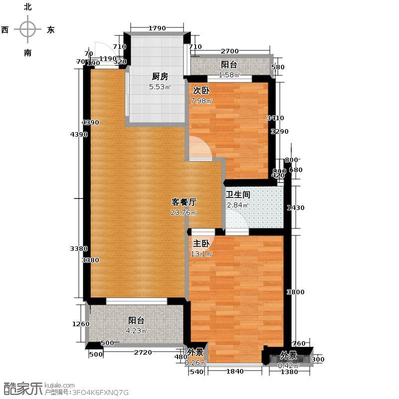天阳尚城国际75.00㎡户型2室2厅1卫