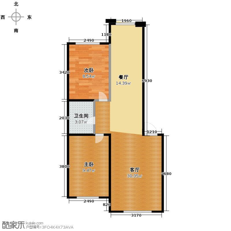 新地山湾76.80㎡C3户型2室1厅1卫