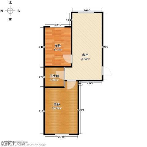 新地山湾2室1厅1卫0厨58.00㎡户型图