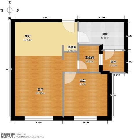 领秀世家1室2厅1卫0厨62.00㎡户型图