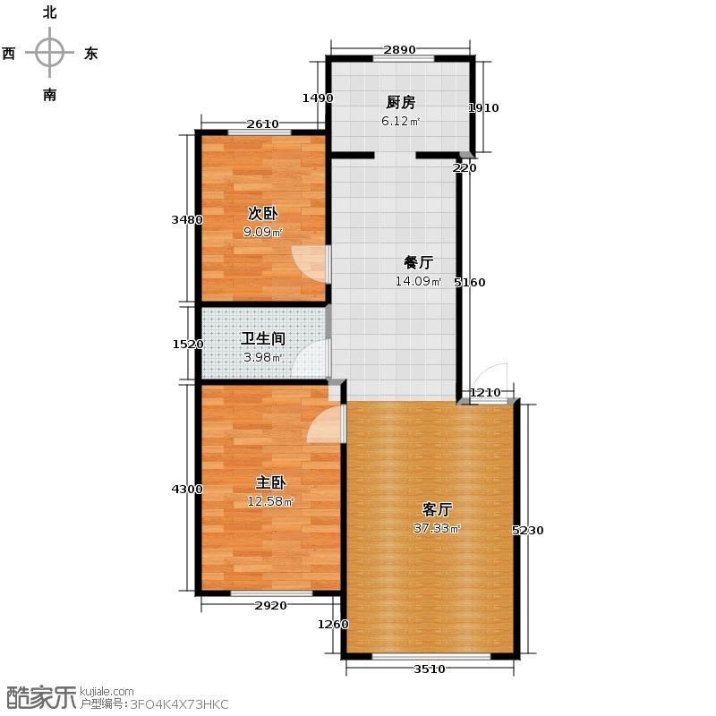 新地山湾83.90㎡D1户型2室1厅1卫