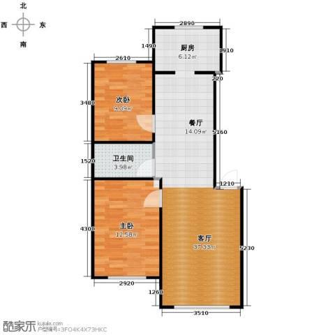 新地山湾2室1厅1卫0厨84.00㎡户型图