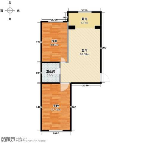 新地山湾2室1厅1卫0厨66.00㎡户型图