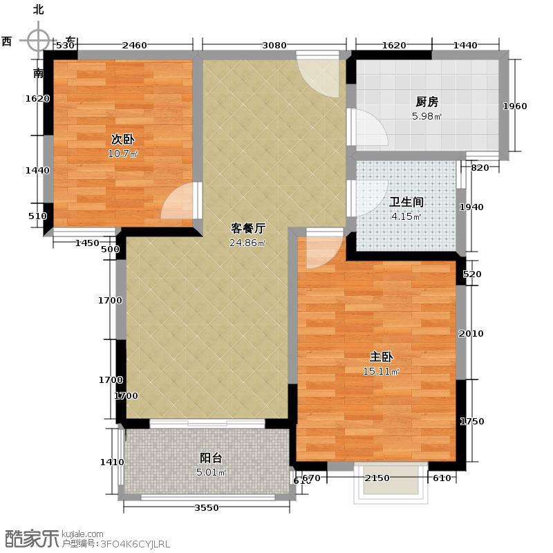 东方广场88.00㎡户型2室2厅1卫
