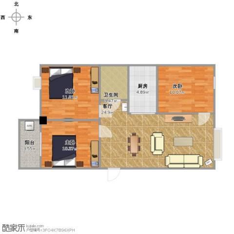 百盛国际名都3室1厅1卫1厨93.00㎡户型图