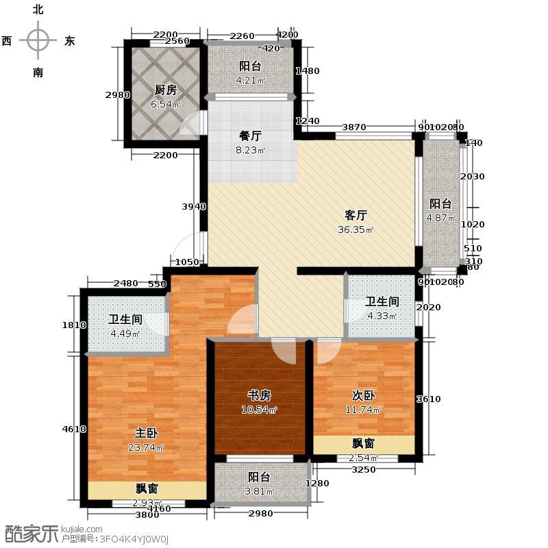 滨江金色黎明137.00㎡K-2户型3室1厅2卫1厨