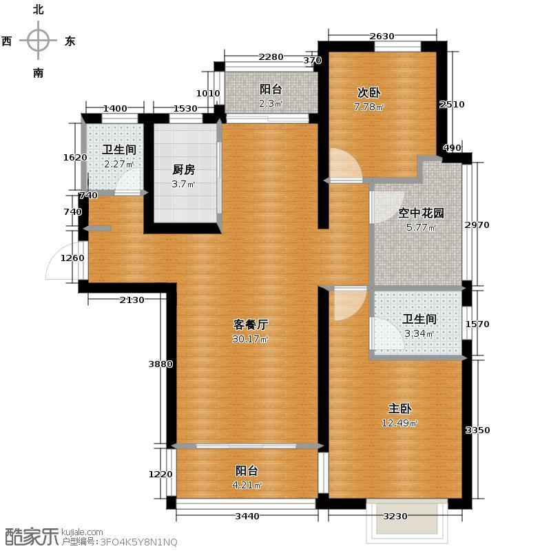 京城国际109.00㎡二期9#楼A2户型2室2厅2卫