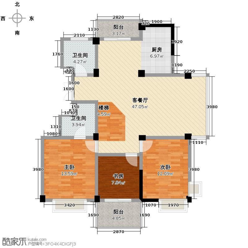 绿建北秀蓝湾193.42㎡户型3室1厅2卫