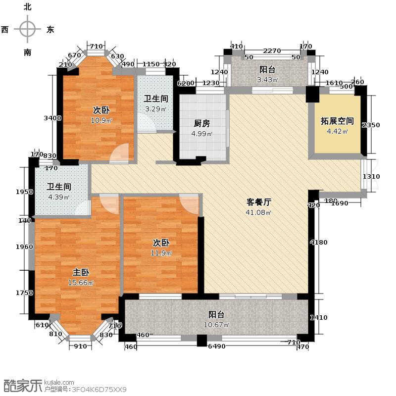 三盛托斯卡纳138.00㎡90#03单元户型4室2厅2卫