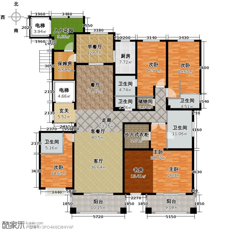 绿地内森庄园307.16㎡户型5室2厅6卫