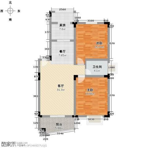 和一花园2室1厅1卫1厨86.00㎡户型图