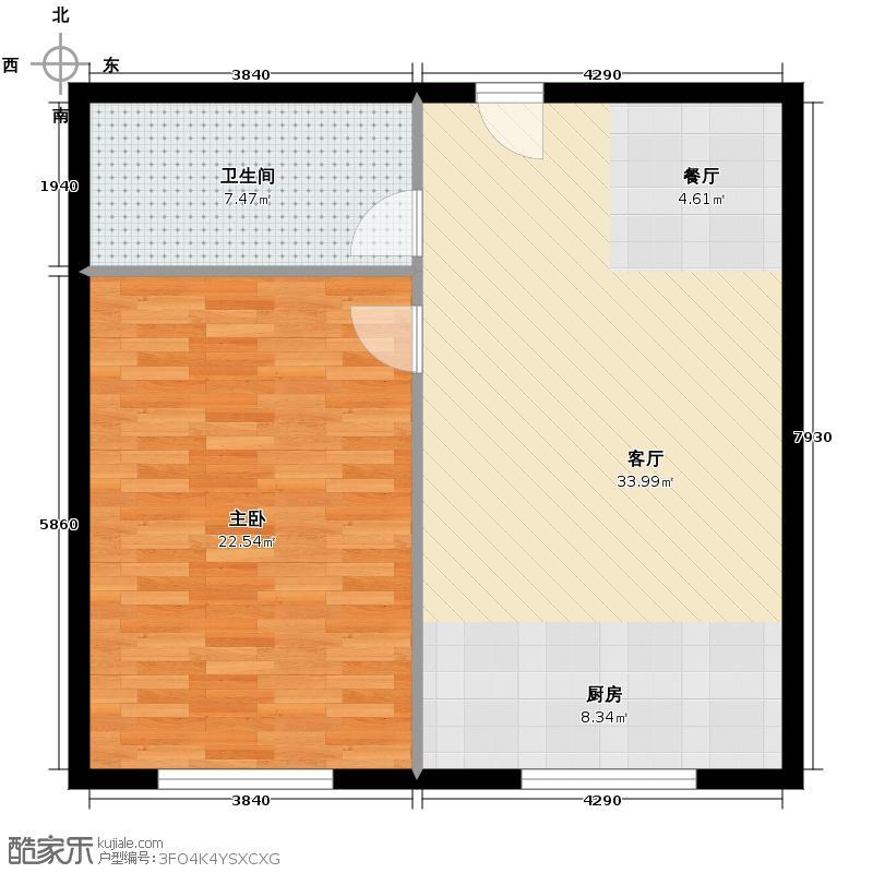 博达英郡56.20㎡6#-8#楼M1户型1室1厅1卫