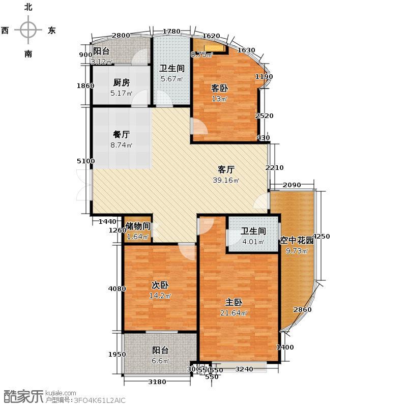 雅戈尔杭商院161.00㎡E户型3室1厅2卫1厨