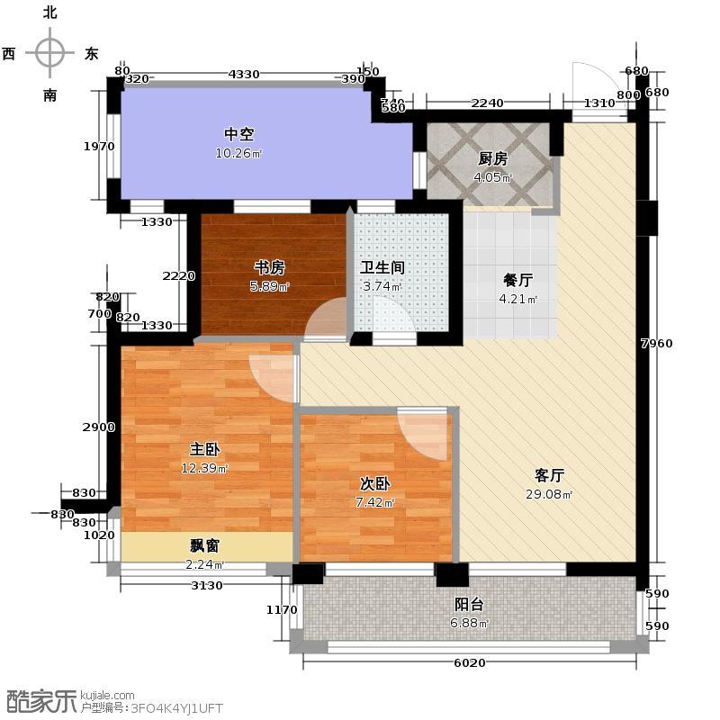 滨江金色黎明89.00㎡大二期B-3号楼2单元02室3室户型3室1厅1卫