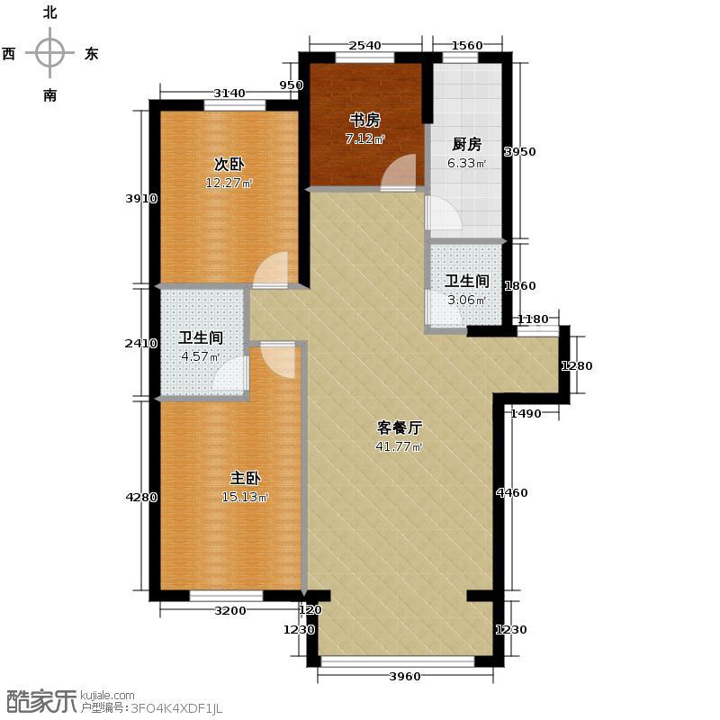 香山景园114.50㎡户型3室1厅2卫1厨