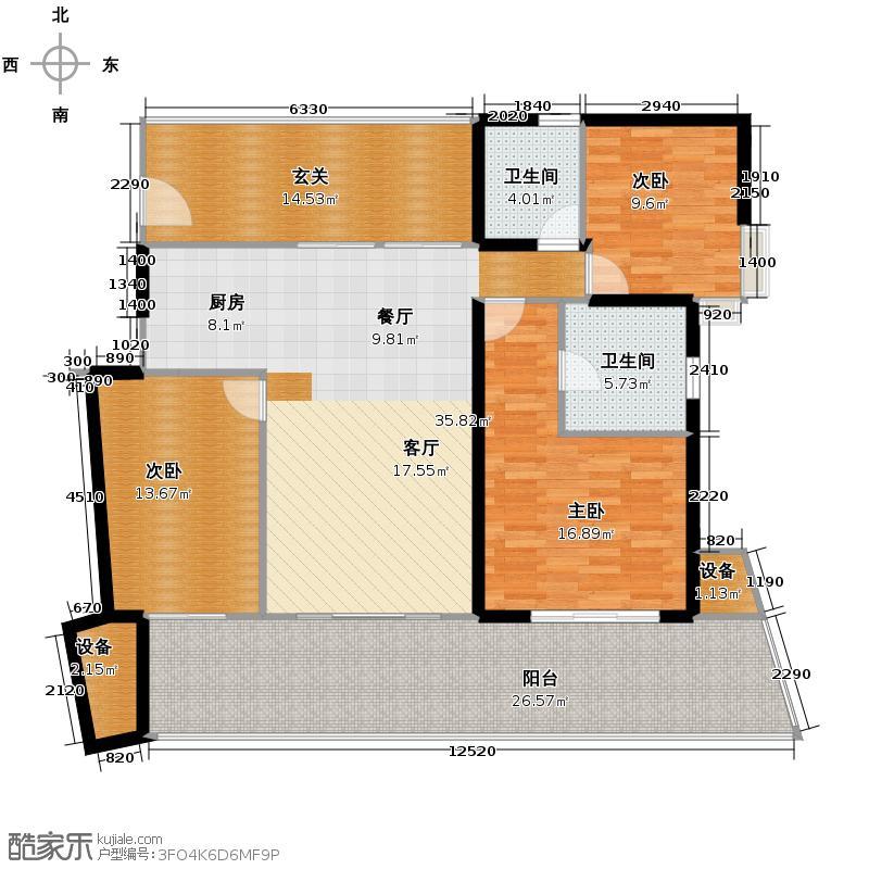 中信・香水湾131.21㎡公寓C1户型3室2厅2卫