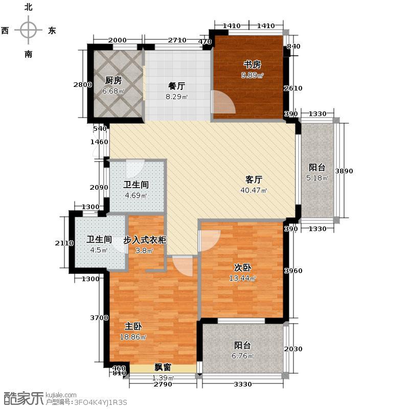滨江金色黎明127.00㎡大二期Q1-11号楼0、0奇数层户型3室1厅2卫