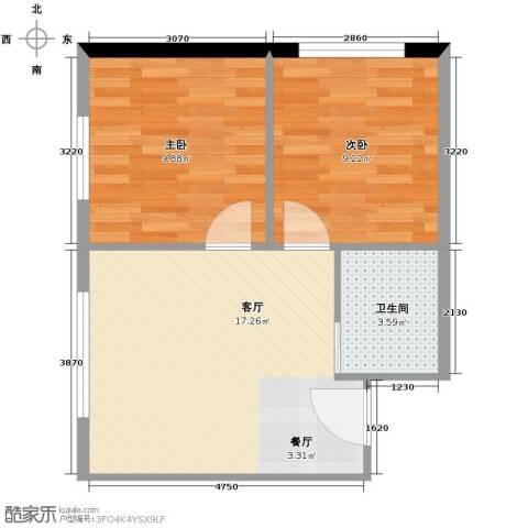 博达英郡2室1厅1卫0厨64.00㎡户型图