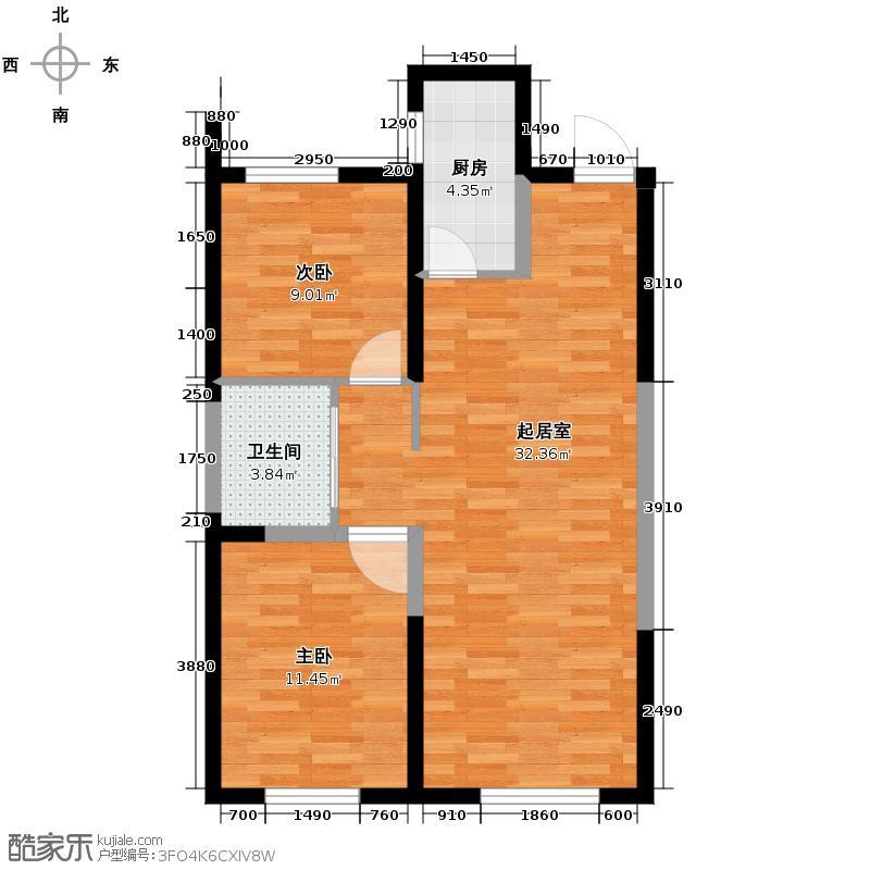 中海�庭89.00㎡GH户型2室2厅1卫