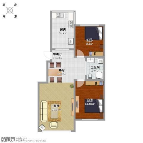 巴黎梦夏2室1厅1卫1厨92.00㎡户型图