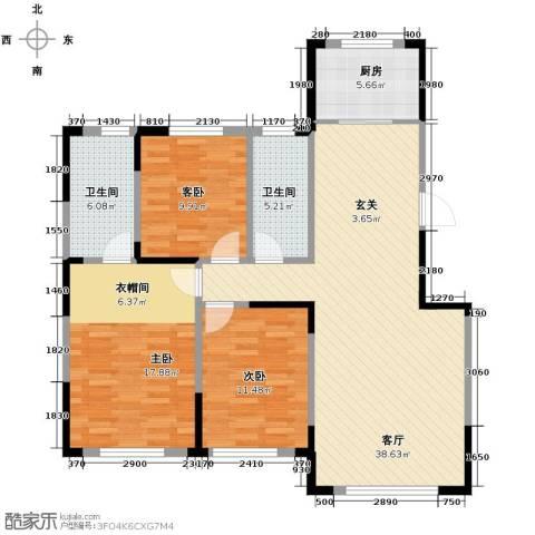 中海�庭3室2厅2卫0厨105.00㎡户型图