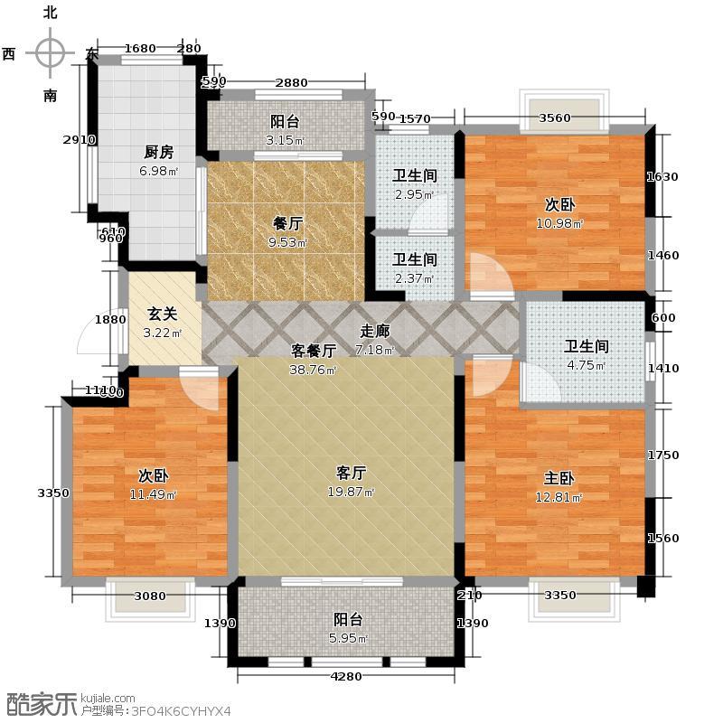 信达银杏尚郡129.00㎡D1户型3室2厅2卫
