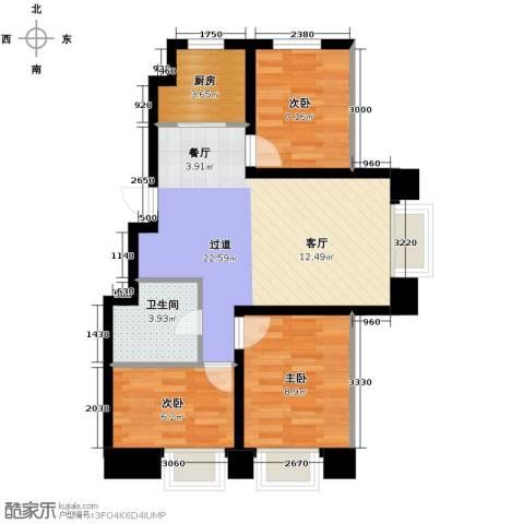 良品柏宏爱琴湾3室2厅1卫0厨100.00㎡户型图