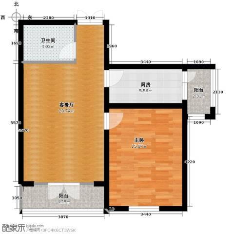 龙鸿怡家1室1厅1卫0厨80.00㎡户型图