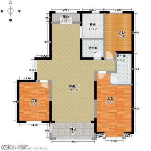 龙鸿怡家3室2厅2卫0厨163.00㎡户型图