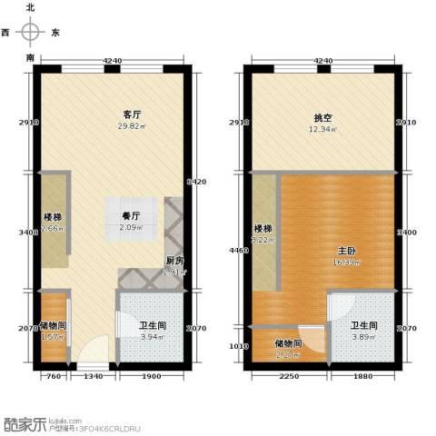 金昌国际1室2厅2卫0厨70.22㎡户型图