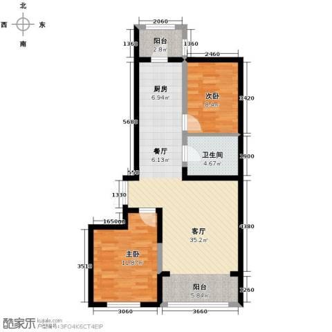 龙鸿怡家2室1厅1卫0厨90.00㎡户型图