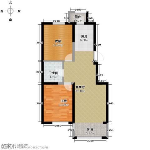 龙鸿怡家2室1厅1卫0厨91.00㎡户型图