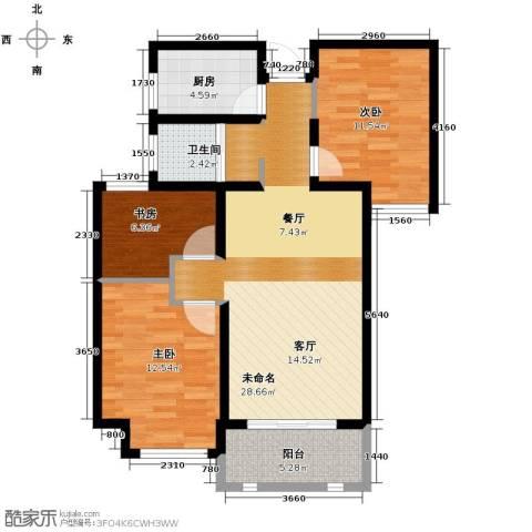 城建琥珀五环城3室2厅1卫0厨95.00㎡户型图