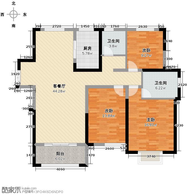丰大国际120.44㎡C户型3室2厅2卫