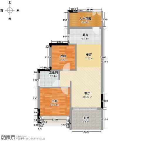 森林湖2室2厅1卫0厨76.00㎡户型图
