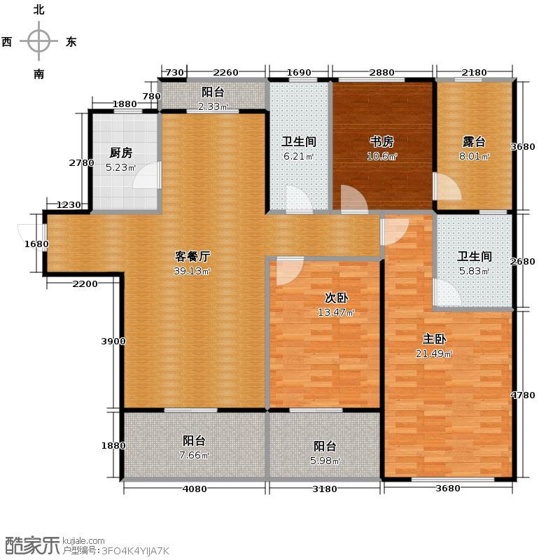 冠宇隽园135.00㎡K户型3室1厅2卫1厨