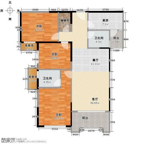 碧桂园滨湖城3室2厅2卫0厨124.00㎡户型图