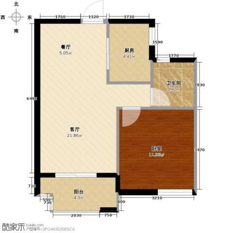 南美假日1室2厅1卫0厨61.00㎡户型图