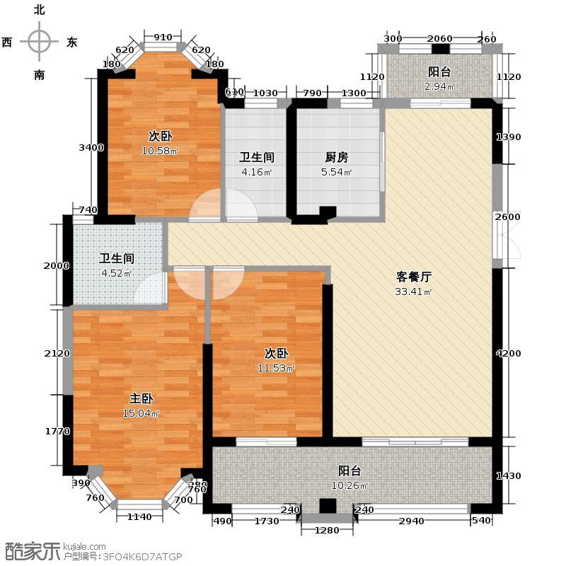 三盛托斯卡纳111.47㎡88#03户型3室2厅2卫